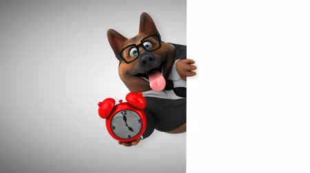 minute : Cartoon dog with alarm clock Stock Footage