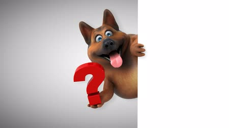 ponto de interrogação : Cartoon dog with question mark Stock Footage