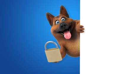 cadeado : Cartoon dog with a padlock Stock Footage