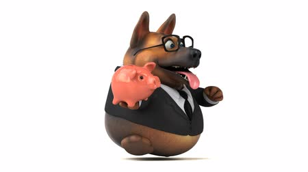 piggy bank : Cartoon dog with a piggy bank