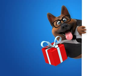roupas formais : Cartoon dog with a gift box