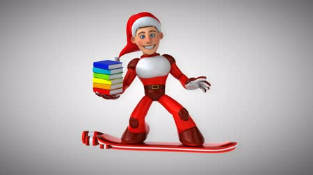 heroes : Cartoon super Santa Claus on floating board with books