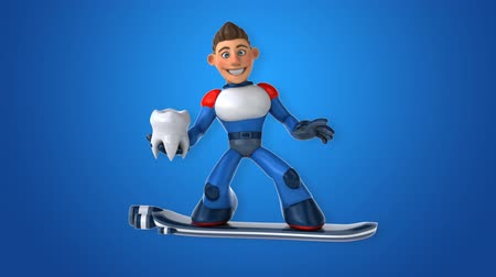 cálcio : Cartoon superhero on floating board with a tooth
