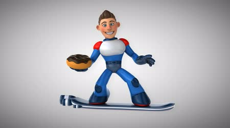 heroes : Cartoon superhero on floating board with donut