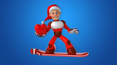 yüzer : Cartoon super Santa Claus on snowboard with love Stok Video