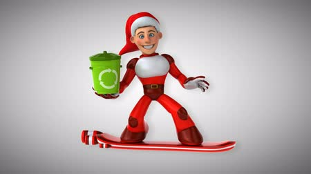 lixeira : Cartoon super Santa Claus on snowboard with recycling bin