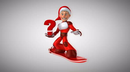 герои : Cartoon super Santa Claus on snowboard with question mark