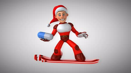 yüzer : Cartoon super Santa Claus on snowboard with a pill Stok Video
