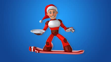 герои : Cartoon super Santa Claus on snowboard with a plate