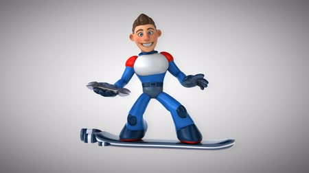 герой : Cartoon superhero on floating board on a wrench