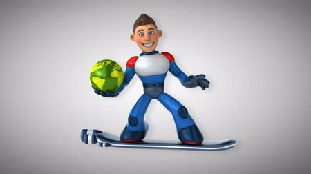 герои : Cartoon superhero on floating board with Earth globe Стоковые видеозаписи