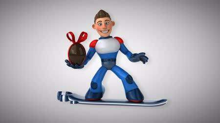 yüzer : Cartoon superhero on floating board with chocolate Easter egg Stok Video