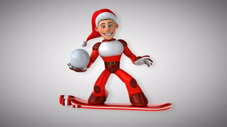 герой : Cartoon super Santa Claus on snowboard with golf ball