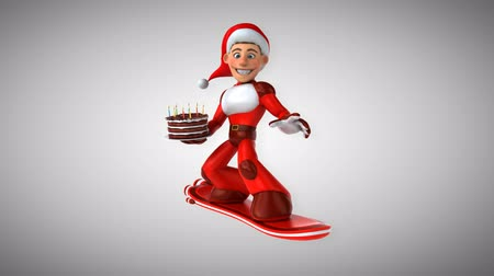 costumes : Cartoon super Santa Claus on snowboard with birthday cake Stock Footage
