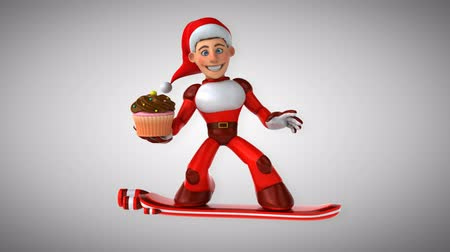 glassa : Cartoon super Babbo Natale su snowboard con un cupcake