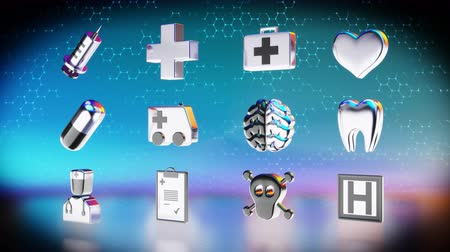 first aid kit : Medical icons concept Stock Footage