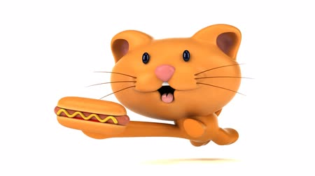 párek v rohlíku : Cartoon cat running with a hotdog