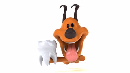 кальций : Cartoon dog running with a tooth