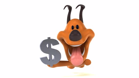 znak : Cartoon dog running with a dollar symbol