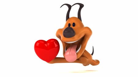 символы : Cartoon dog running with a heart