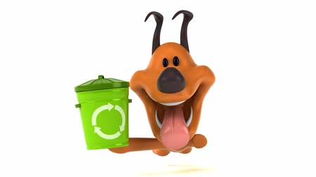 animais domésticos : Cartoon dog running with recycling bin