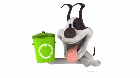 can : Cartoon dog running with recycling bin