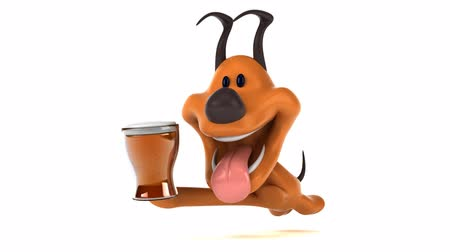 domar : Cartoon dog running with a beer