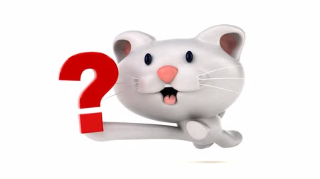 ponto de interrogação : Cartoon cat running with a question mark