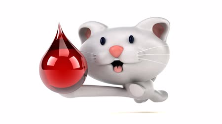 doação : Cartoon cat running with a red droplet