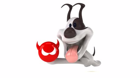 boynuzları : Cartoon dog running with a devil icon