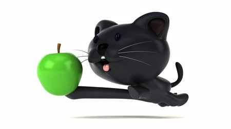 домашнее животное : Cartoon cat running with an apple