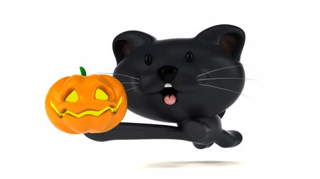 kočkovitý : Cartoon cat running with a pumpkin
