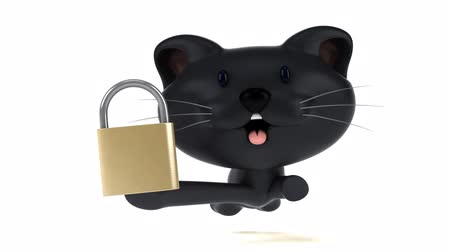 cadeado : Cartoon cat running with a padlock