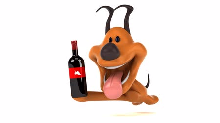 белое вино : Cartoon dog running with a bottle of wine Стоковые видеозаписи