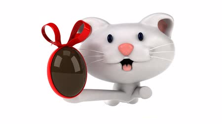 кошачий : Cartoon cat running with a chocolate egg Стоковые видеозаписи