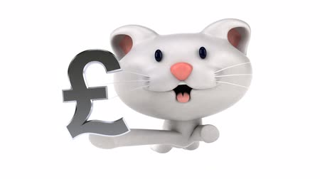 pound : Cartoon cat running with a pound symbol
