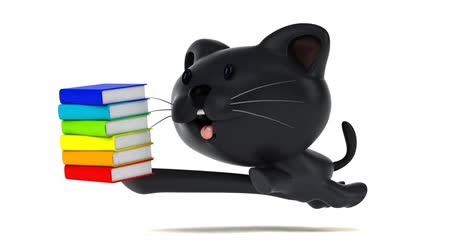 kočkovitý : Cartoon cat running with a stack of books Dostupné videozáznamy