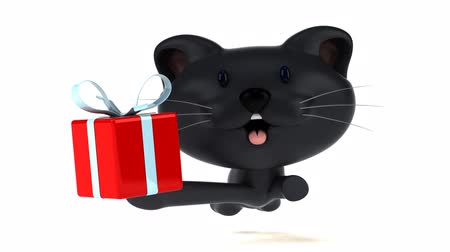 memeliler : Cartoon cat running with a gift Stok Video