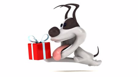 domar : Cartoon dog running with a gift