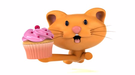 домашнее животное : Cartoon cat running with a cupcake