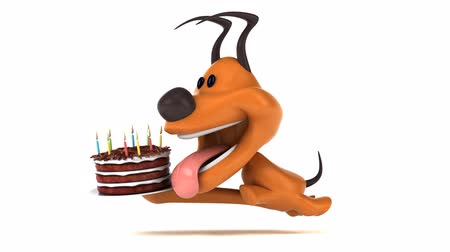 domar : Cartoon dog running with a birthday cake