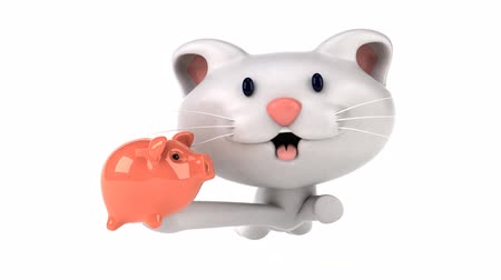 piggy bank : Cartoon cat running with a piggy bank