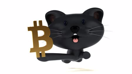 монета : Cartoon cat running with a bitcoin symbol Стоковые видеозаписи