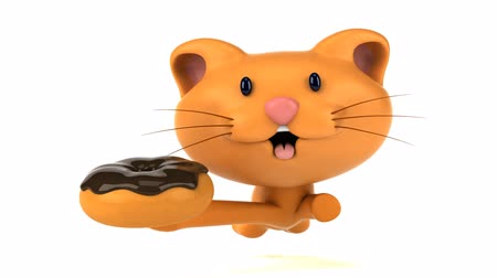 rosquinhas : Cartoon cat running and holding a donut Stock Footage