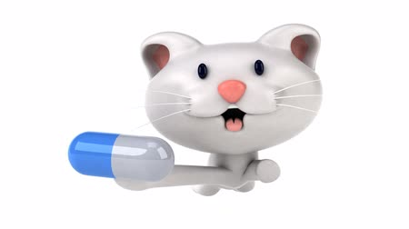 капсулы : Cartoon cat running with a pill Стоковые видеозаписи