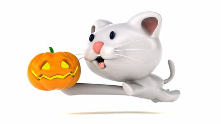 questão : Cartoon cat running with a carved pumpkin