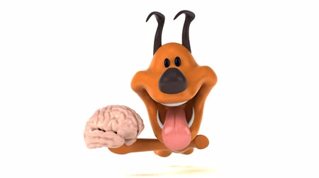 nervous : Cartoon dog running with a brain