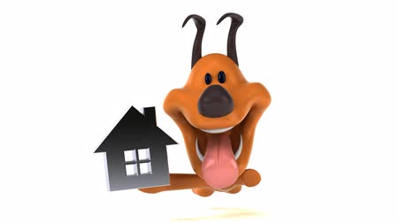 корпус : Cartoon dog running with house icon Стоковые видеозаписи