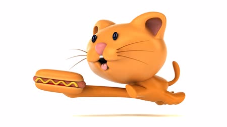 houska : Cartoon cat running with a hotdog