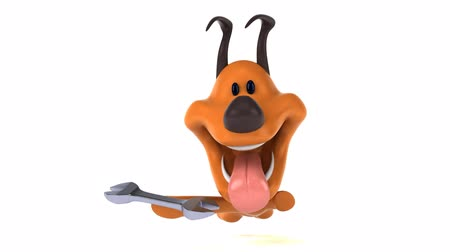 csavarkulcs : Cartoon dog running and holding a wrench